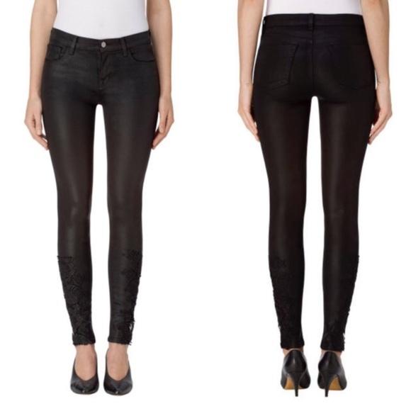 J Brand Denim - J Brand Mid-Rise Skinny Coated Black Lace Jeans 27